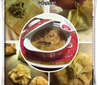 Soupe de raviolis chinois au poulet