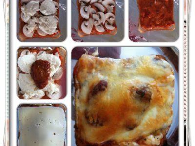 Toast pizza champignons