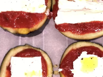 Aubergine-mozza façon pizza